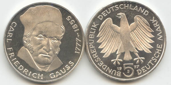 5 Dm 1977 Deutschland Brd 5 Dm Carl Friedrich Gauß 1977 J St