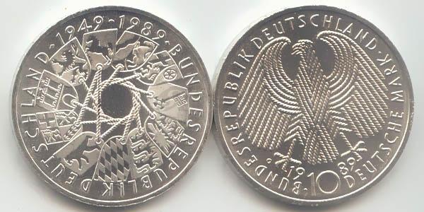 10 Dm 1989 Deutschland Brd 10 Dm 40 Jahre Brd 1989 G St Fdc Ma Shops