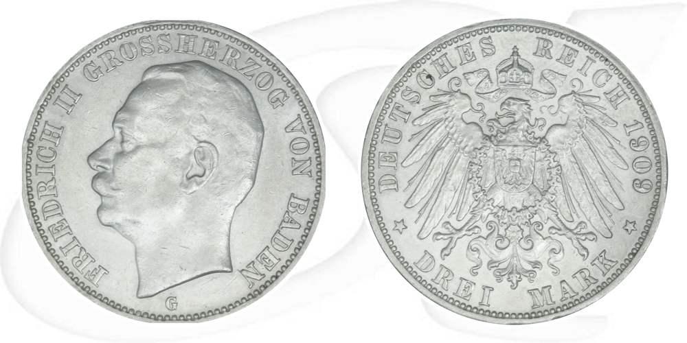 3 Mark 1909 Deutschland Baden Deutschland Baden 3 Mark 1909 Ss Vz