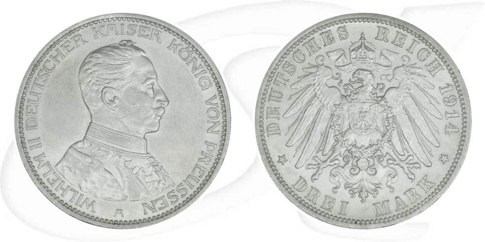 3 Mark 1914 Deutschland Preussen Deutschland Preussen 3 Mark 1914