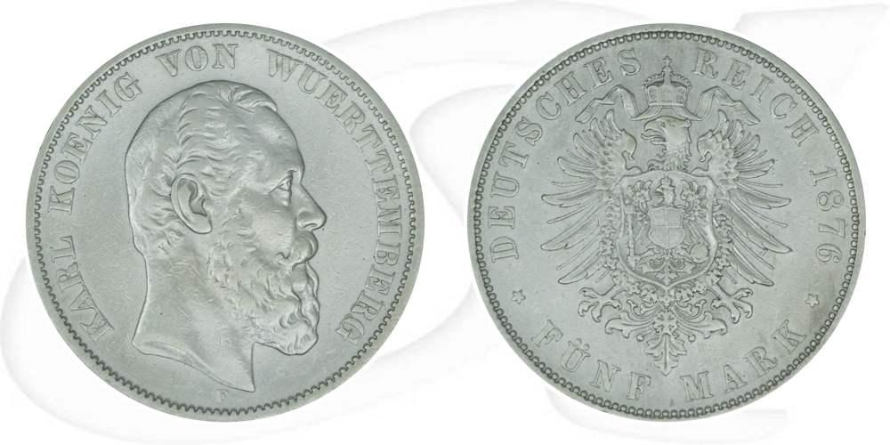 5 Mark 1876 Deutschland Württemberg Deutschland Württemberg 5 Mark