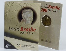 2 Euro Münze 2009 Belgien Braille