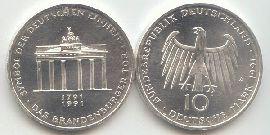 10 Dm Münze 1991 Brandenburger Tor