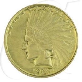 USA 10 Dollar 1907 ss Gold 15,03g fein Indian Head - Indianer