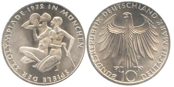 10 Deutsche Mark Olympia Sportlerpaar 1972