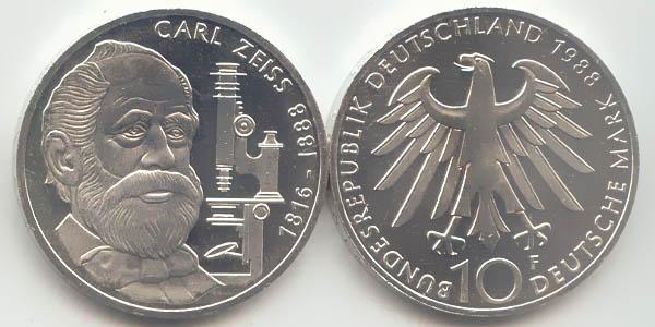 10 Dm Münze 1988 Carl Zeiss