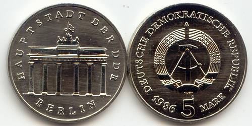 DDR 5 Mark Brandenburger Tor 1986 st