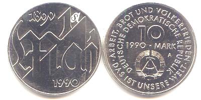 DDR 10 Mark 1. Mai 1990 st