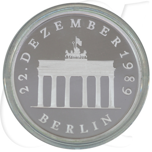 DDR 20 Mark 1990 A Brandenburger Tor Silber PP