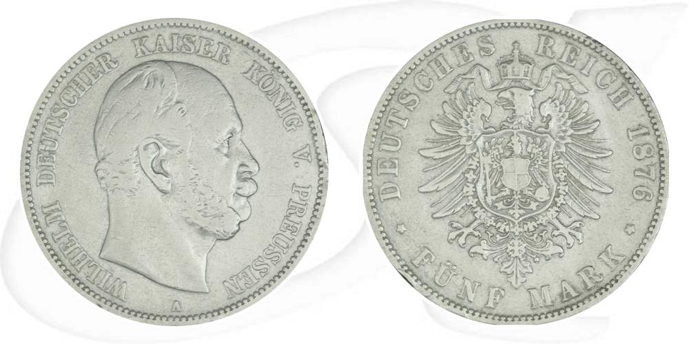 5 Mark Wilhelm I 1876 Münze