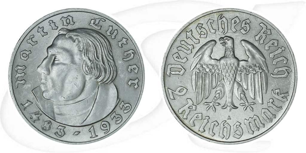 2 Reichsmark Martin Luther 1933 A Vz St