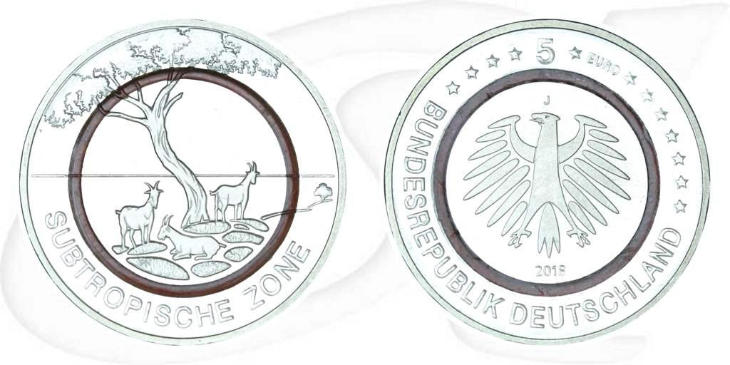5 Euro Münze Deutschland 2018 Subtropische Zone