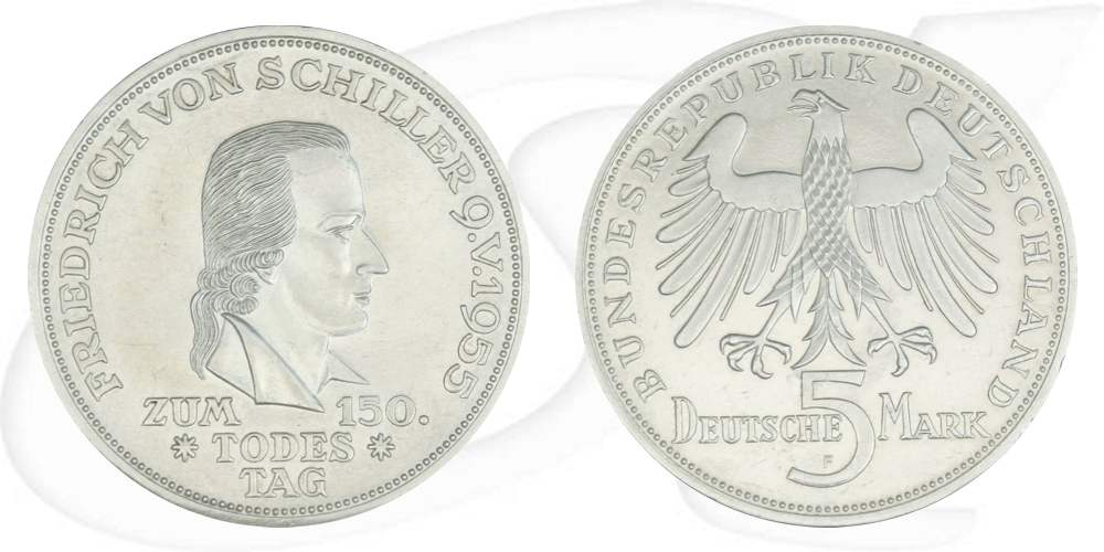 5 Deutsche Mark 1955 F Schiller