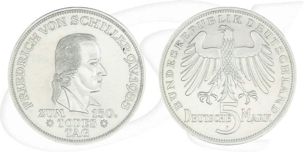 5 Dm 1955 F Schiller Münze