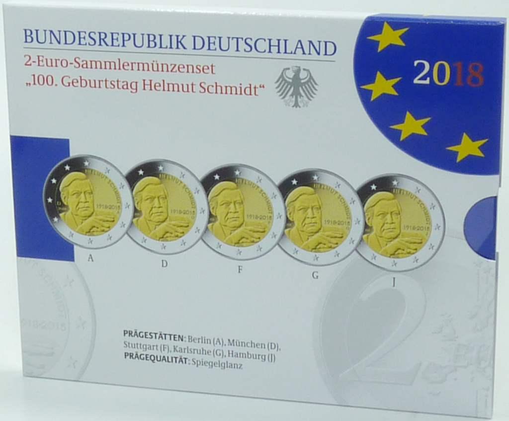 2 Euro Münzen 2018 Deutschland Helmut Schmidt