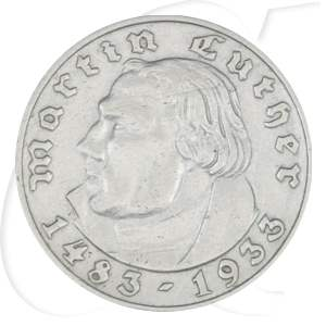 Drittes Reich 2 RM 1933 A ss-vz 450. Geburtstag Martin Luther