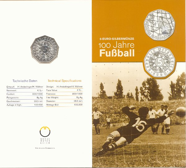 5 Euro Münze österreich 2004 100 Jahre Fußball