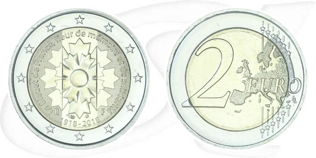 2 Euro Münze Frankreich 2018 Kornblume