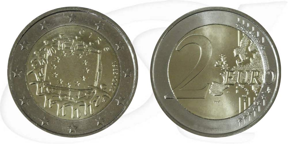 2 Euro Münze Irland 2015 Europaflagge