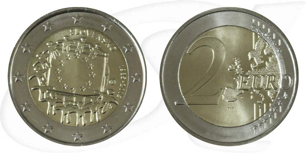 2 Euro Münze Slowakei 2015 Europaflagge