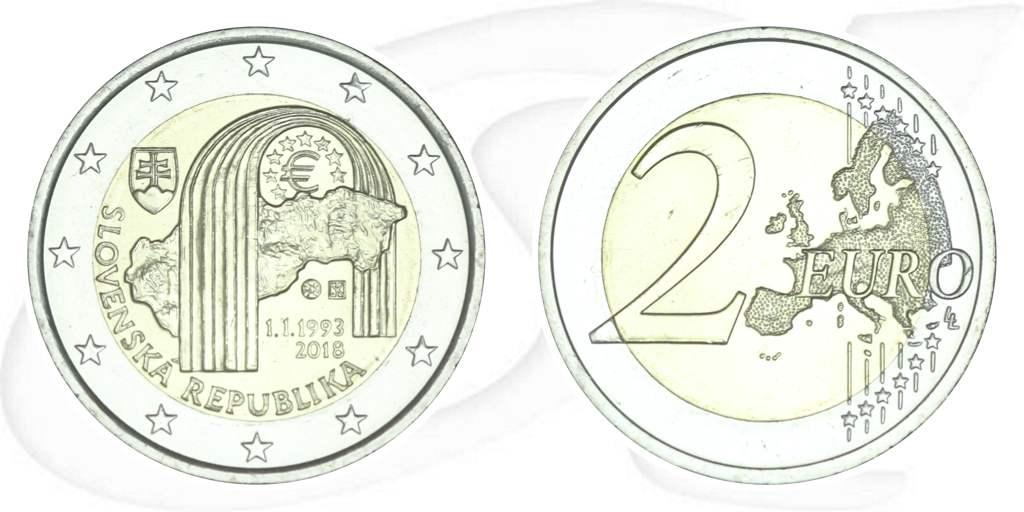 2 Euro Münze Slowakei 2018 25 Jahre Republik Slowakei