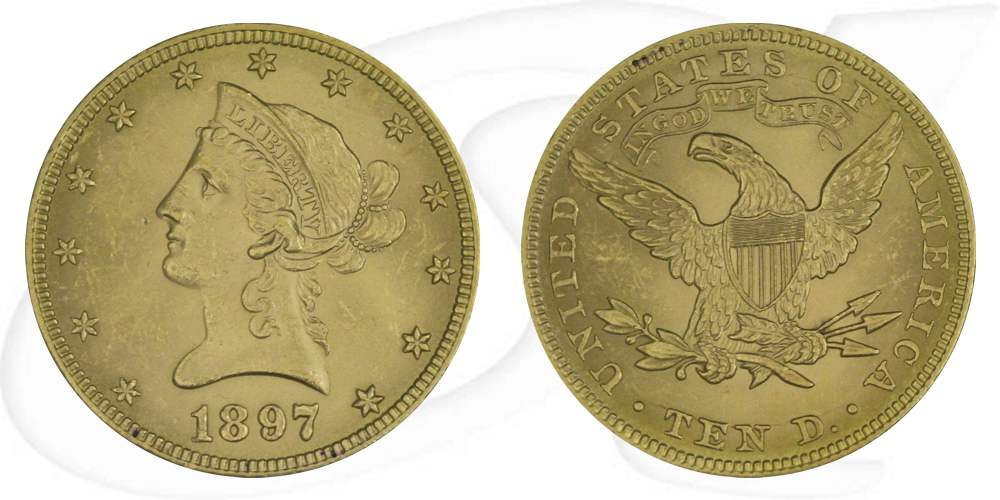 USA 10 Dollar 1897 vz Gold 15,03g fein Liberty Eagle Coronet Head